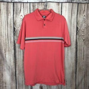 Footjoy Coral Striped Goof Polo Shirt Medium